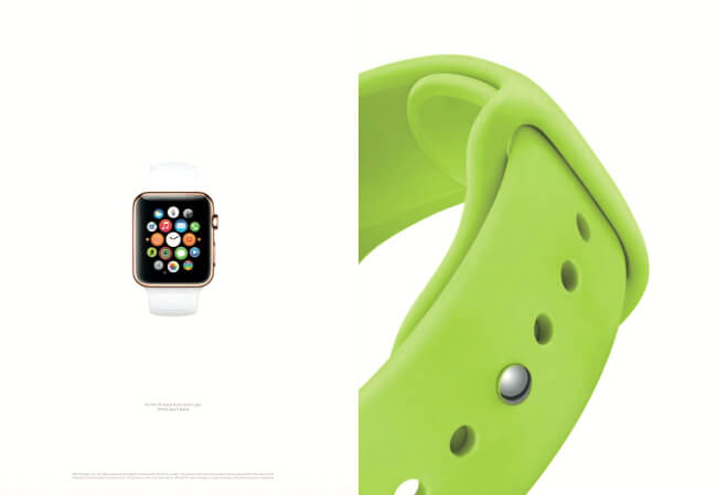 Apple watch advertisment with extensive use of negative space