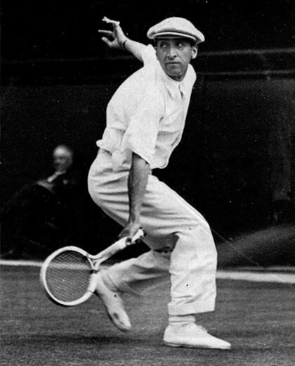 Jean Rene Lacoste in action as a tennis player