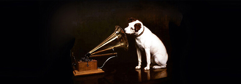 painting of a fox terrier listening to a gramophone