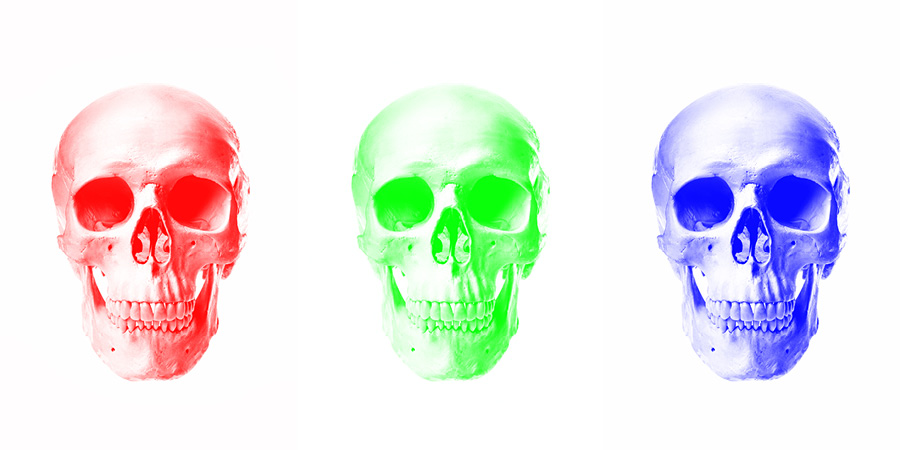 three skulls demonstrating painting white onto each of the Red, Green, and Blue channels