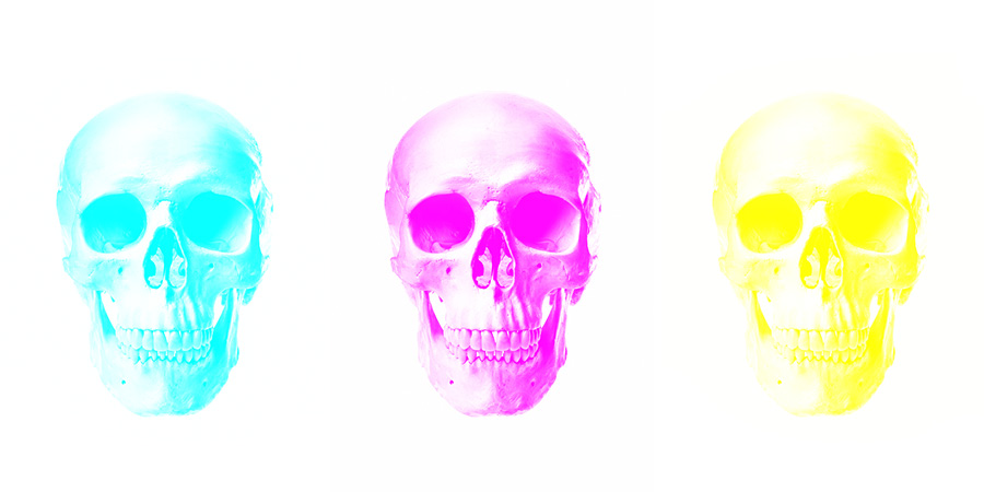these three skull images have had two channels painted white