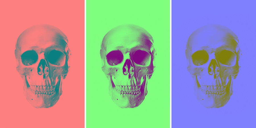 these three skull images have had two channels painted grey