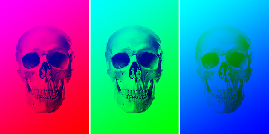 these three skull images show combinations of black painting and gradients