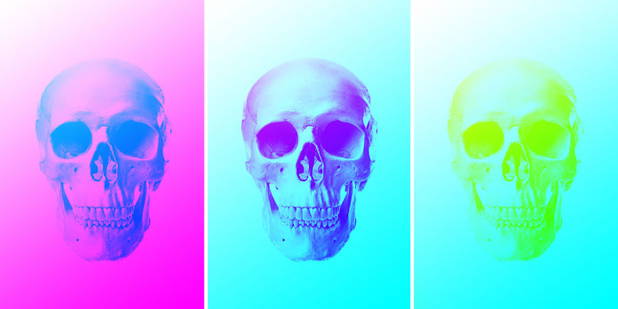 these three skull images show combinations of white painting and gradients