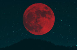 a red moon - a composite image from two photographs